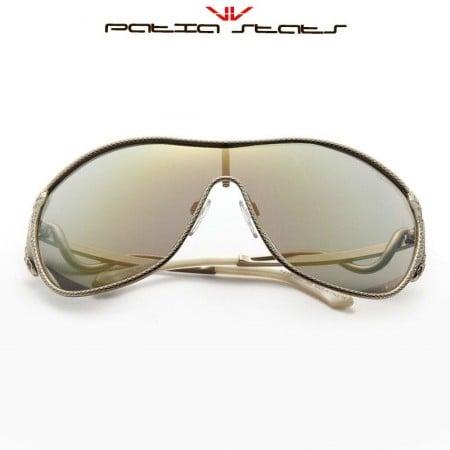 Patia Stats Miaplacidus Swarovski Crystal Temple Shield Sunglasses