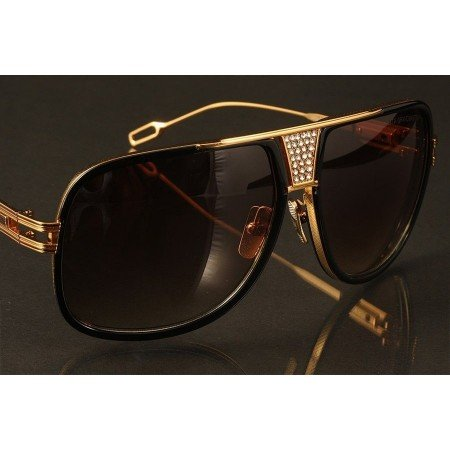 ḋita® Grandmaster 5 ™ Diamond Engraved Gold Textured Crown & Frame with Copper Tinted Lenses Aviator Eyewear