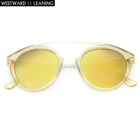 Westward Leaning Round with Lime Gold Tinted Lens Sunglasses