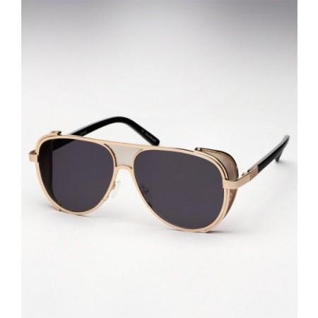 Ksubi ® Cisco ™ Gold Crown Engraved Eye Covering Frame & Charcoal Tinted Densed Lenses Eyewear