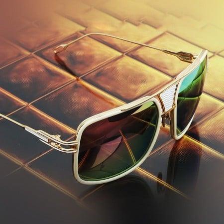 ḋita® Grandmaster WCham™ with Gold Crown Black Jewels White Metal Frame & Copper Tinted Lenses Aviator Eyewear