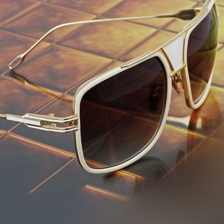 ḋita® Grandmaster WBR™ with Gold Crown White Jewels Metal Frame & Copper Tinted Lenses Aviator Eyewear