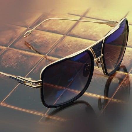 ḋita® Grandmaster BLens™ with Gold Crown Black Jewels Blue Metal Frame & Copper Tinted Lenses Aviator Eyewear