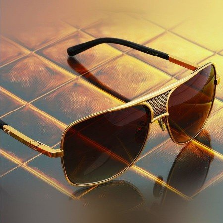 ḋita® Matadoor ™ Diamond Engraved Gold Texture King Crown with Emerald Hue Tinted Lenses Aviator Eyewear