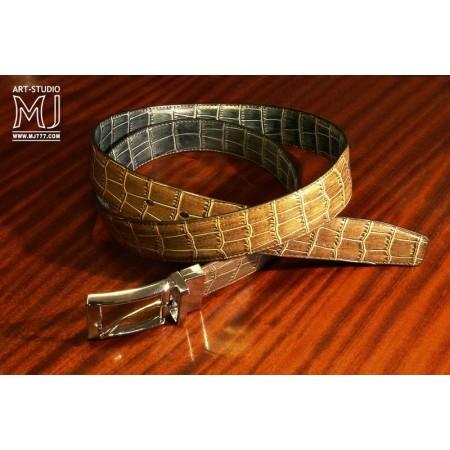 Patia Stats Croc Patter Leather Belt