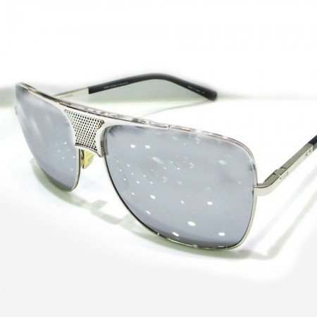 ḋita® Matador ™ Silver Chrome Crown Engraved with Armour & Carbon Tinted Lenses Aviator Eyewear