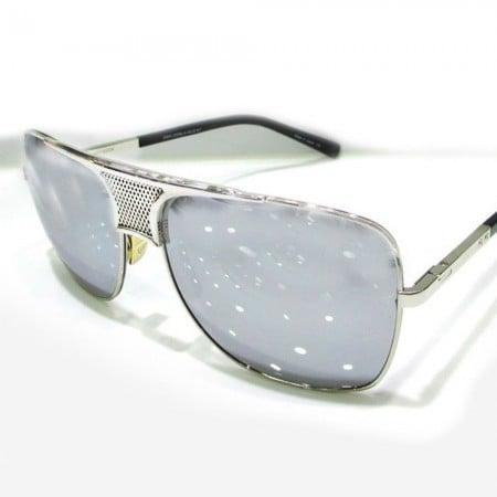 ḋita® Matador ™ Silver Chrome Crown Engraved with Armour & Carbon Tinted Lenses Aviator Eyewear