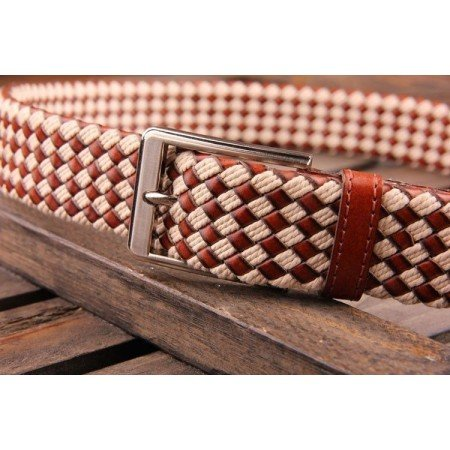 Patia Stats Diamond Leather Weaved Belt - Vanilla Tan Brown