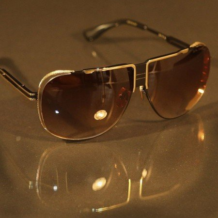 ḋita® Cascas ™ Gold Crown Hanging with Gold Floating Frame & Copper Tinted Lenses Aviator Eyewear