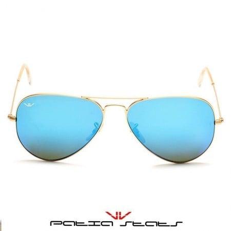 Patia Stats Blue Aviator Flash Sunglasses