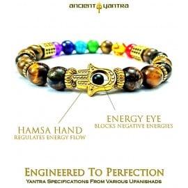 Ancient Yantra - TIGER EYE Stone with 96 Black Cosmic Energy Crystals in Gold Hexagons - 7 Chakra Balancer Yantra Bracelet