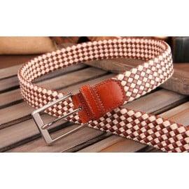 Patia Stats Diamond Leather Weaved Belt - Vanilla Tan Brown