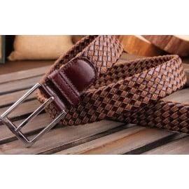 Patia Stats Diamond Leather Weaved Belt - Chocolate Brown