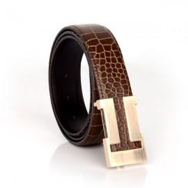 Patia Stats Crocodile Skin Pattern Brown Leather Belt