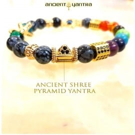 Ancient Yantra - Tiger Eye Stone Shree Pyramid Chakra Yantra - 7 Chakra Balancer Bracelet