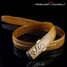 Patia Stats Croc Leather Dragon Buckle Belt - Light Brown