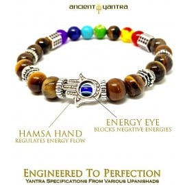 Ancient Yantra - TIGER EYE Stone Silver Hexagon 7 Chakra Balancer Bracelet Yantra