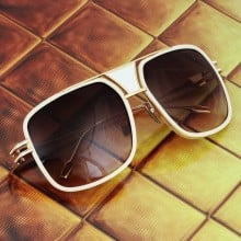 ḋita® Grandmaster WBR™ with Gold Crown White Jewels Metal Frame & Copper Tinted Lenses Aviator Eyewear