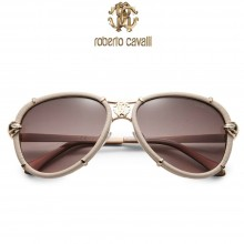 Roberto Cavalli Brown Leather Wrapped Aviator Sunglasses
