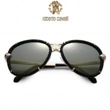 Roberto Cavalli Black Leather Wrapped Aviator Sunglasses