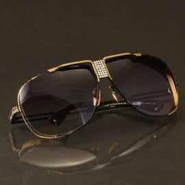 ḋita® Cascas ™ Crown embeded with Diamonds with Curved Metal Frame & Copper Tinted Densed Lenses Aviator Eyewear