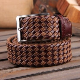 Patia Stats Diamond Leather Weaved Belt - Chocolate Brown