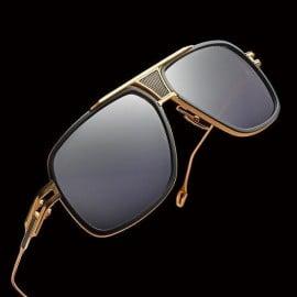 ḋita® Grandmaster Black Jewel™ with Gold King Crown with Black Diamonds & Copper Dense Lenses Aviator Eyewear