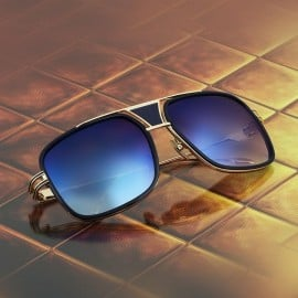 ḋita® Grandmaster BLens™ with Gold Crown Black Jewels Blue Metal Frame & Copper Tinted Lenses Aviator Eyewear