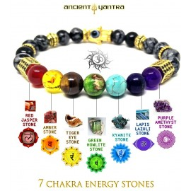Ancient Yantra - Snow Wishing Stone with 96 ZC Cosmic Energy Crystals in Gold Hexagons - 7 Chakra Balancer Yantra Bracelet