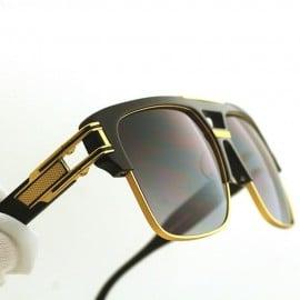 ß ḋita® GRANDE MAC ™ Gold Textured King's Crown Armour Frame with Carbon Tint Dense Lenses Aviator Eyewear