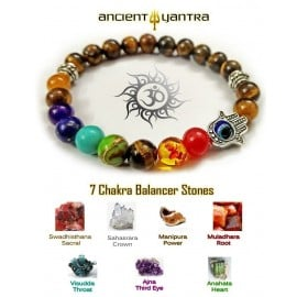 Tiger Eye Stone with Blessing Hand Power 7 Chakra Balancer Bracelet by Ancient Yantra